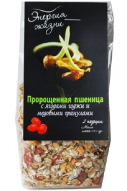 Пророщенная пшеница с ягодами годжи и медовыми гранулами , 120 гр, Здоровая еда
